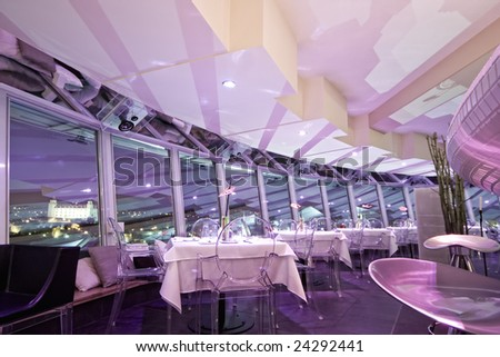 interior of modern bar and restaurant, with a pink environment - stock photo