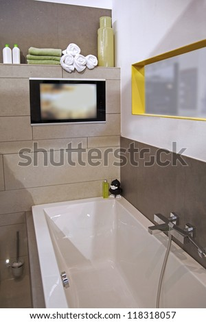 interior of modern bath room with tv