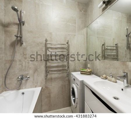 Interior of modern bathroom in scandinavian style - stock photo