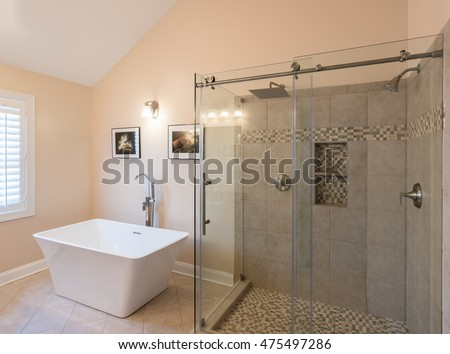 Interior Modern Bathroom Standalone Tub Bath Stock Photo (Royalty ...