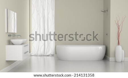 Interior of modern bathroom with the window 3D - stock photo