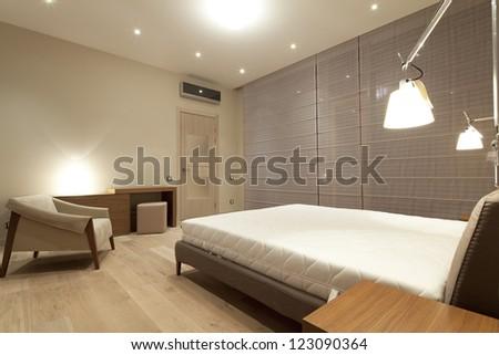 Interior of modern bedroom - stock photo