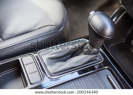 Interior of modern car with automatic gear box - stock photo
