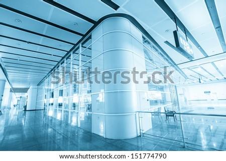 interior of modern corridor at railway station - stock photo