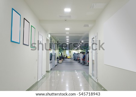 Interior of modern corridor in fitness hall