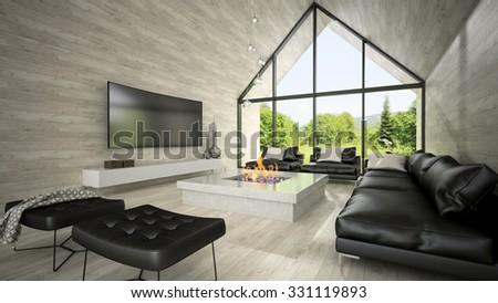 decorate modern living room. Interior of modern design living room 3D rendering Modern Design Living Room 3d Stock Illustration 331119893