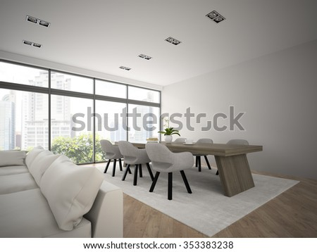 Interior of modern design loft with big table 3D rendering