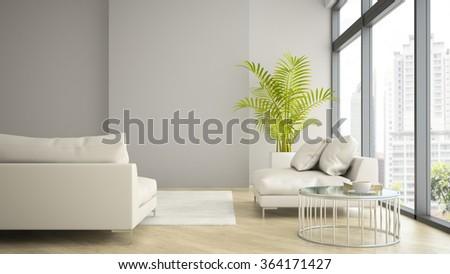 Interior Of Modern Design Loft With Palm 3d Rendering