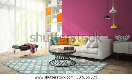 Interior of modern design room with purple wall 3D rendering