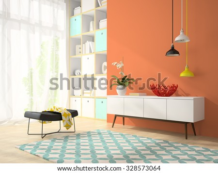 Interior of modern design room with red vase 3D rendering - stock photo