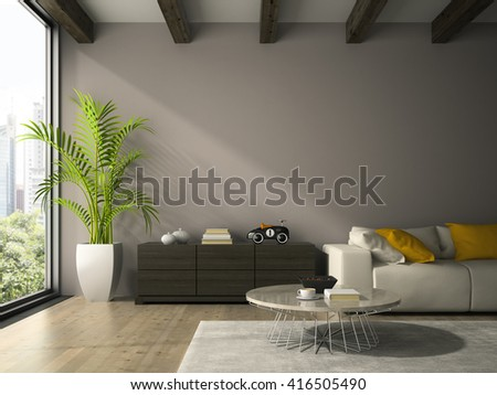 Interior of modern design room with white couch 3D rendering - stock photo