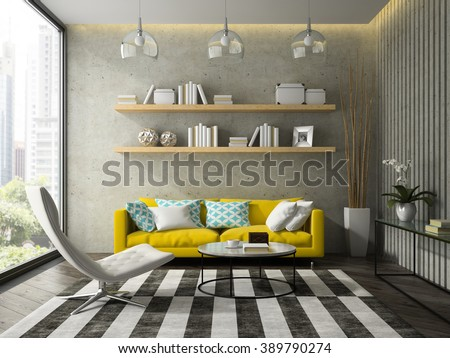 Interior of modern design room with yellow couch 3D rendering  - stock photo