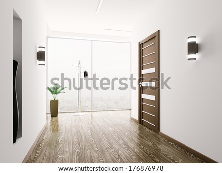 Interior of modern entrance hall 3d render - stock photo