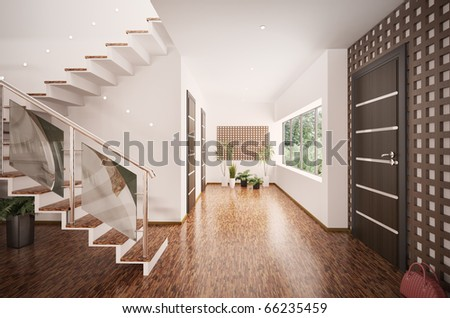 Interior of modern entrance hall with staircase 3d render - stock photo