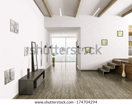 Interior of modern hall 3d render - stock photo
