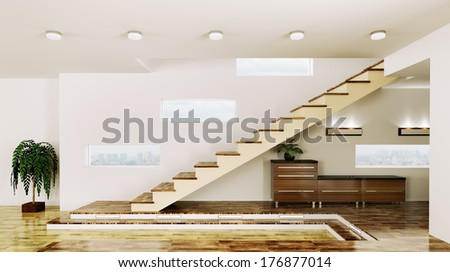 Interior of modern hall with staircase 3d render
