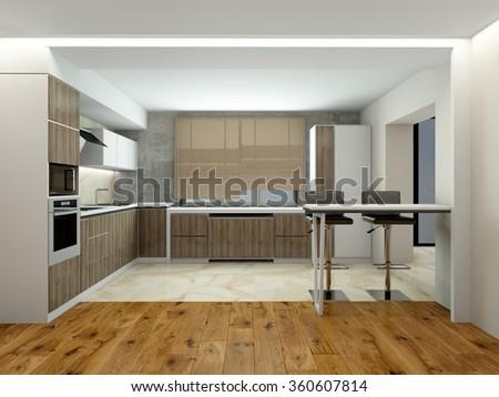 Interior of modern kitchen (3D) - stock photo