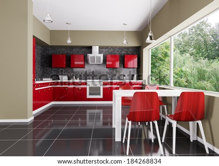 Interior of modern kitchen 3d render - stock photo