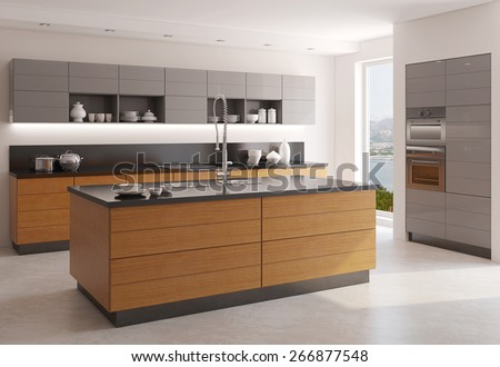 Interior of modern kitchen. 3d  rendering. Photo behind the window was made by me. - stock photo