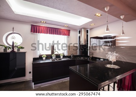 Interior of modern kitchen in luxury house
