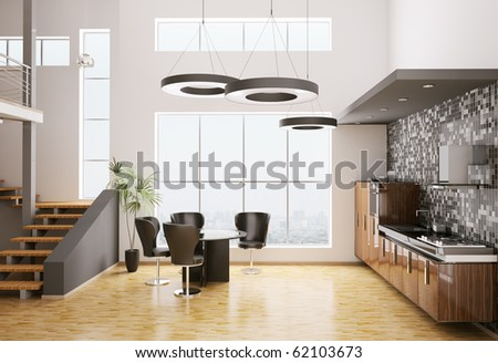 Interior of modern kitchen made with ebony wood 3d render