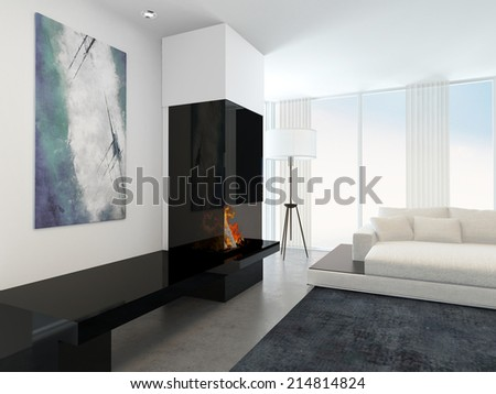 Interior of Modern Living Room in Apartment with Fireplace and White Furniture - stock photo