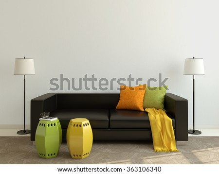 Interior of modern living-room with black couch. 3d render. - stock photo