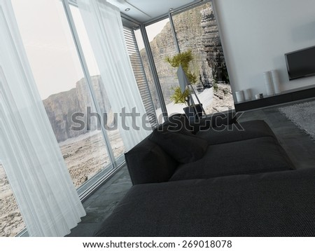 Interior of Modern Living Room with Black Furniture and Large Windows with View of Cliff Landscape. 3d Rendering. - stock photo