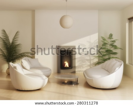 Interior of modern living room with leather furniture - stock photo