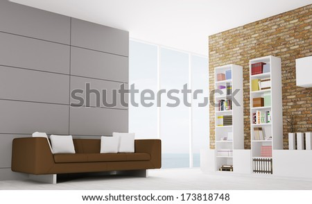 Interior of modern living room with sofa and sideboard - stock photo