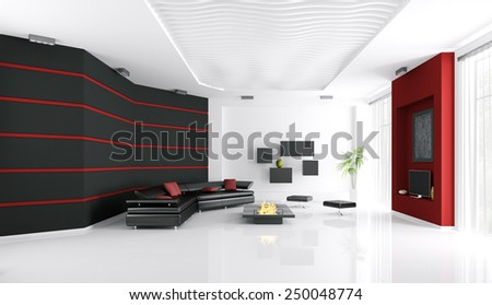 Interior of modern living room with sofa,fireplace and tv 3d render - stock photo