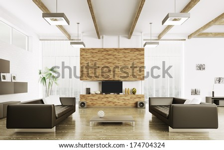 Interior of modern living room with two sofas 3d render - stock photo