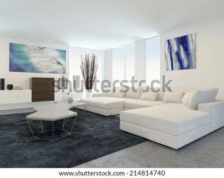 Interior of Modern Living Room with White Furniture - stock photo