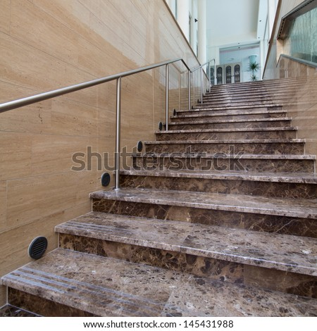 interior of modern marble stairs - stock photo