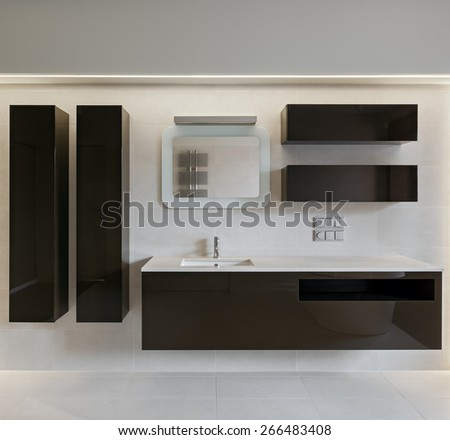 Interior of modern minimalistic bathroom, composition with furniture - stock photo