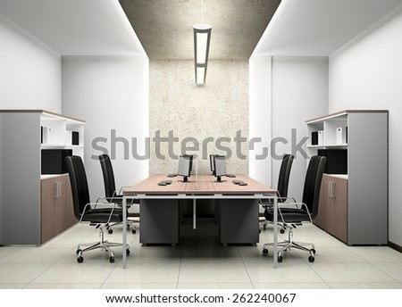 Interior of modern office 3D rendering