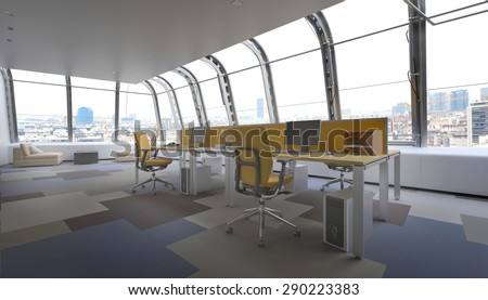 Interior of Modern Penthouse Office Space in Urban City, Row of Office Chairs and Computers at Central Desk in Top Floor Office Overlooking City. 3d Rendering