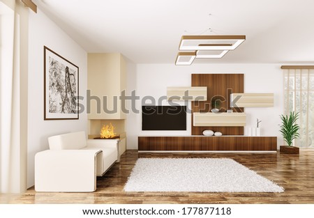 Interior of modern room with armchair and sideboard 3d render - stock photo