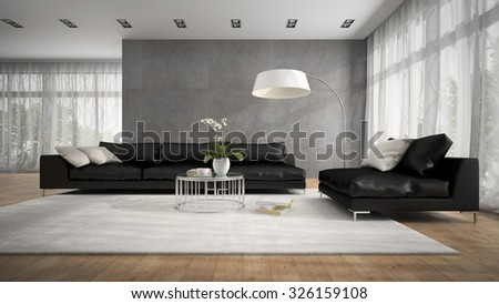 Interior of modern room with black couch 3D rendering  - stock photo
