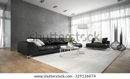 Interior of modern room with black couch 3D rendering