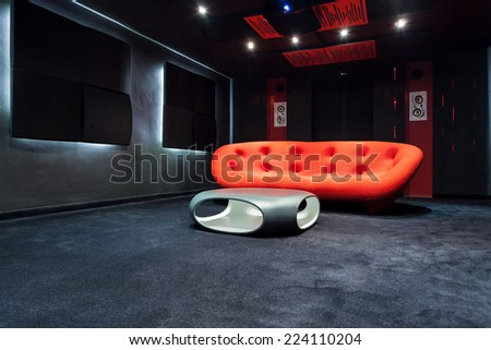 Interior of modern room with design furniture - stock photo