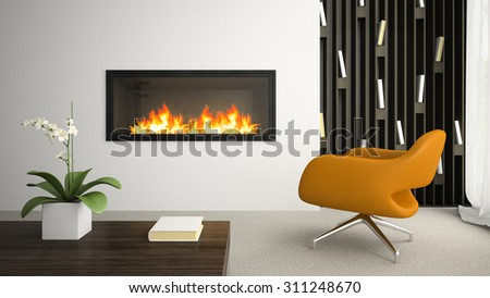 Interior of modern room with fireplace 3D rendering - stock photo