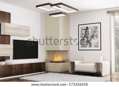 Interior of modern room with sofa and fireplace 3d render - stock photo