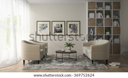 Interior of modern room  with three posters on the wall  3D rendering  - stock photo