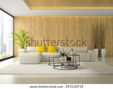 Interior of modern room with white sofa 3D rendering  - stock photo