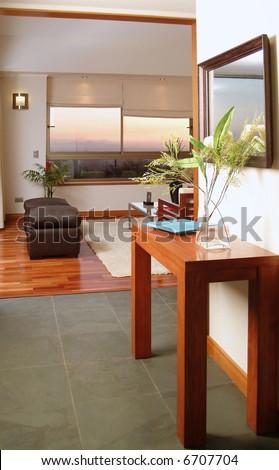 interior of modern salon decorated with tasteful - stock photo