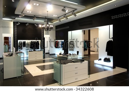 Interior of modern shop of clothes