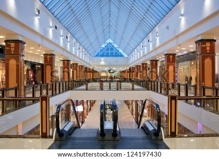 interior of modern shopping center - stock photo