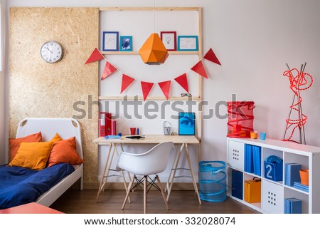 Interior of modern stylish room for teenager - stock photo