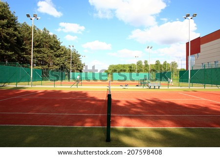 interior of modern tennis european sport club - stock photo